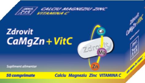 Ca + Mg + Zn şi Vitamina C Forte, Zdrovit, 20 plicuri | kozossegikartya.ro
