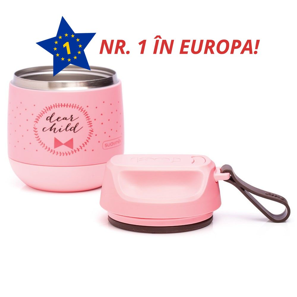 Termos 350ml roz inox 100% mancare solida suavinex 032412 3303515